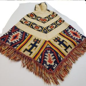 Vntg Wool Cape Poncho Aztec Western Boho Sweater